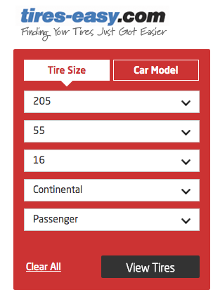 Continental Tire Performance Tire Search tool