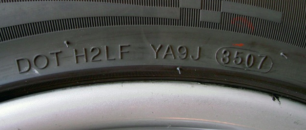 DOT date code on the side of a boat trailer tire