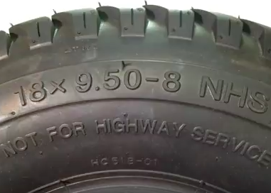 Lawn & garden tires size is shown on tire sidewall.