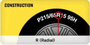 The construction of the tires will either be labeled with an R for Radial or a B for Bias.