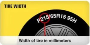 Width of the tire in millimeters