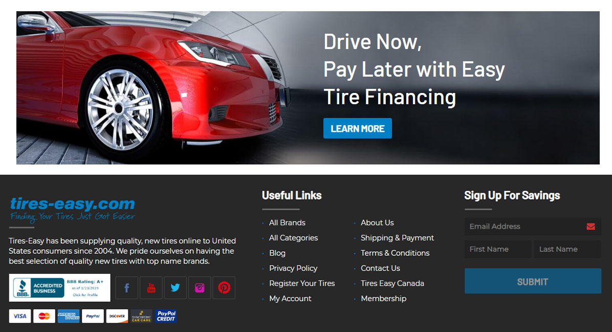 What payment options are excepted at Tires-easy.com