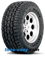 Toyo Open Country A/T II Tire mounted onto a wheel showing its tread design