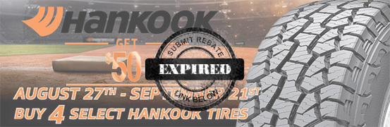 Save $50 on the Hankook Fall Classic 2018 Tire Rebate
