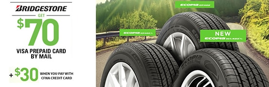 Save $70 when you purchase 4 new qualifying Bridgestone Tires