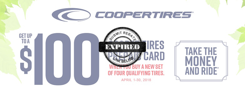 Save up to $100 in the Cooper Tire Take the Money and Ride Rebate