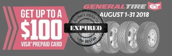 Save up to $100 on the General Tire Summer Rebate