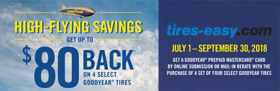 Save up to $80 on the Goodyear Tire Rebate Today