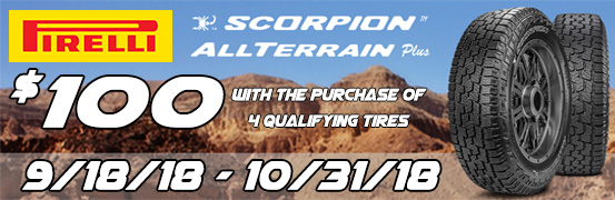 Pirelli Tires Scorpion All Terrain Plus Rebate