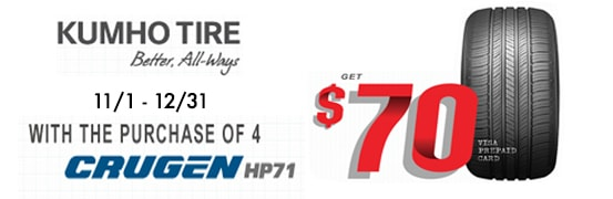 Save $70 on the Kumho Crugren HP71 Tire Rebate