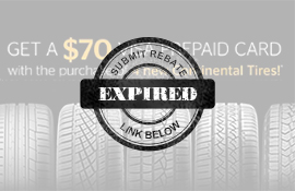 Continental Tire fall 2017 rebate on 4 tires