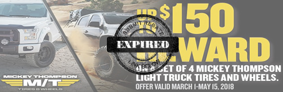 Save $100 when you buy 4 New Mickey Thompson Tires