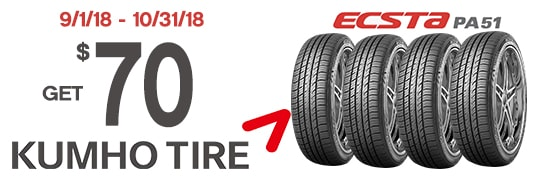Save $70 on the Kumho Ecsta51 Tire Rebate
