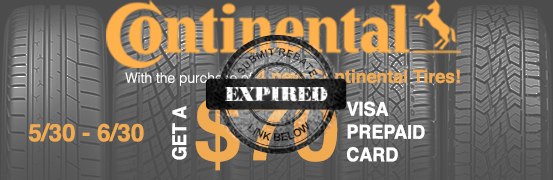 Continenal Tire Summer 2018 Rebate