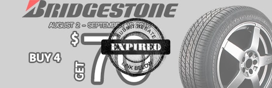 Save up to $70 when you purchase 4 Bridgestone tires