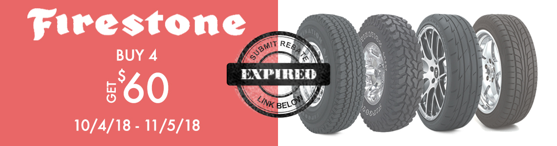 Save up to $60 in the Firestone Fall 2018 rebate