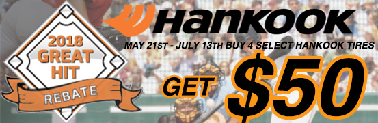 Save up to $50 in the Hankook Tire Summer Rebate