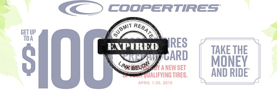 Save up to $100 in the Cooper Tire Spring rebate