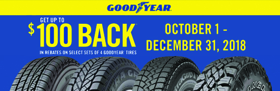 Save up to $100 on the Goodyear Tire Rebate Today