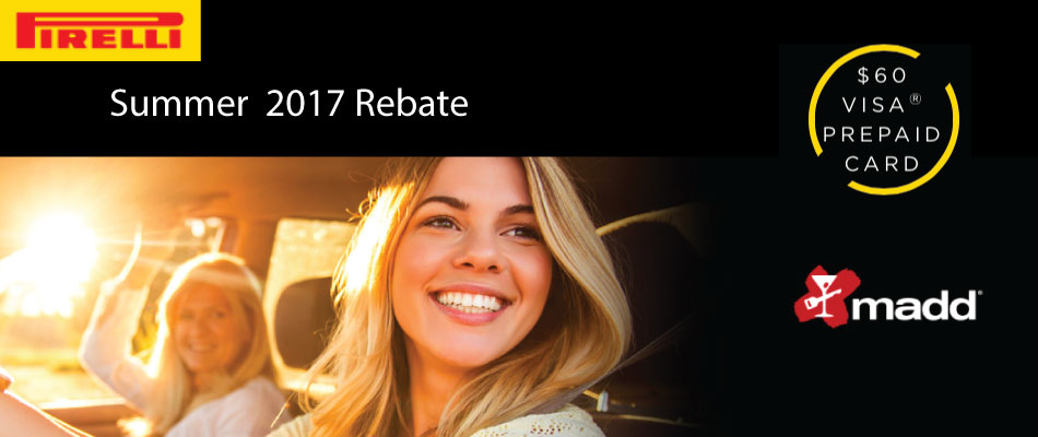 Save $60 in the Pirelli Summer Rebate when you purchase 4 tires!