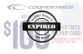 Save Up To $100 in the Cooper Tire Summer Rebate